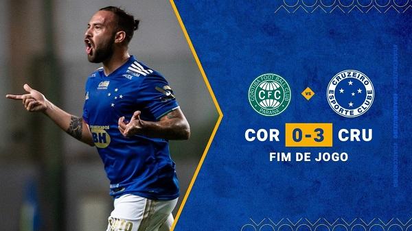 Cruzeiro faz seu melhor jogo em dois anos de Série B e atropela o Coritiba