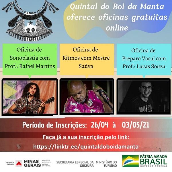 Com inscrições abertas, Quintal Boi da Manta oferece oficinas gratuitas e online