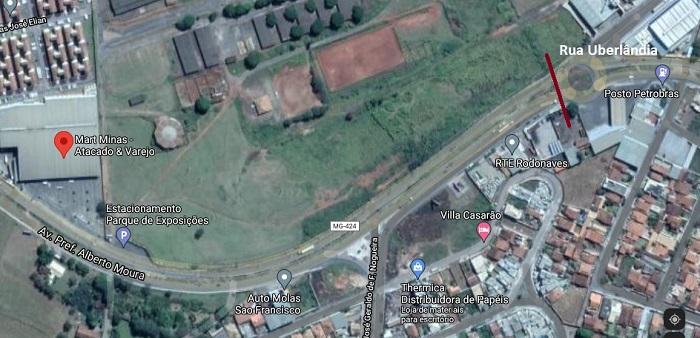 Trânsito está interditado a partir de rotatória ao final da rua Uberlândia com Av. Perimetral. Imagem: Google Maps.