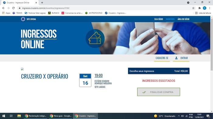 As dificuldades intransponíveis para se conseguir ingresso para jogos do Cruzeiro em Sete Lagoas, via internet